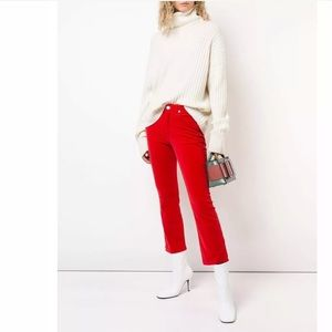 Re/Done Jeans - RE/DONE High-Rise Velvet Crop Kick Flare Jeans- 27